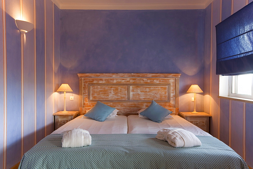 Guest rooms decorated in blue, Romantik Hotel Vivenda Miranda, Lagos, Algarve, Portugal, Europe