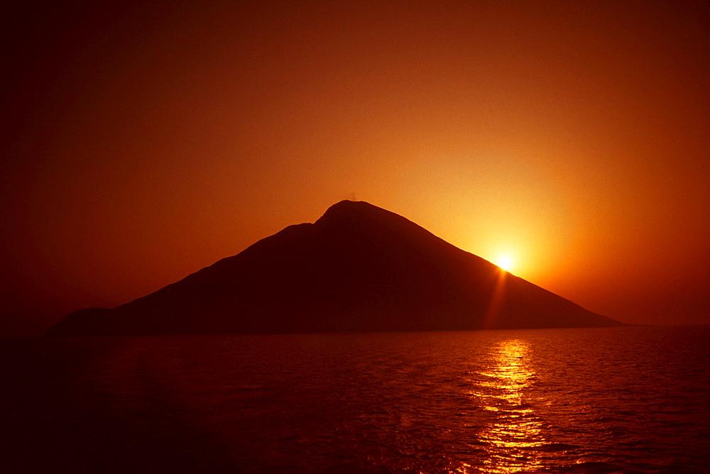 Island at sunrise, Stromboli, Aeolian Islands, Italy, Europe