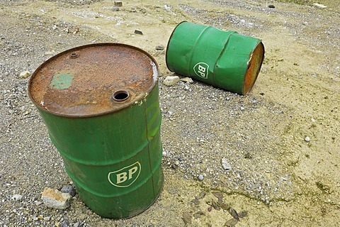 Old BP petrol barrels, Bavaria, Germany, Europe