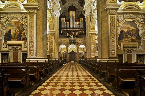 Baroque interior of the Collegiate Church in Klosterneuburg, Lower Austria, Austria, Europe