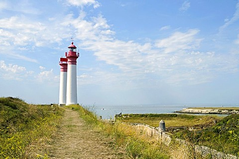 Lighthouses, landscape, overview, Ile d'Aix Island, Poitou Charentes, France, Europe