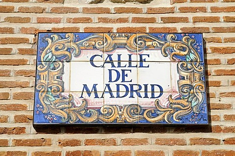 Street sign, Calle de Madrid, azulejos, Spanish tiles, Madrid, Spain, Europe - 832-243183