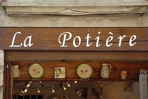 Lettering La Potiere, pottery, Saint Guilhem le Desert, Herault, Languedoc-Roussillon, France, Europe