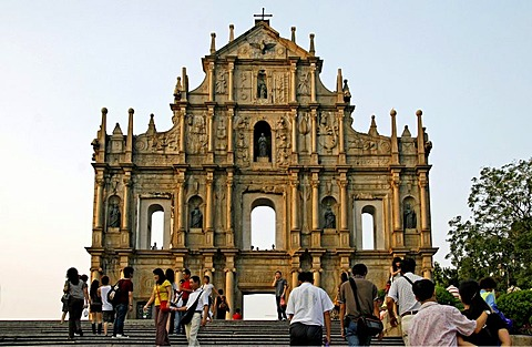 Baroque facade, former Sao Paulo Cathedral, downtown, Macau, China, Asia