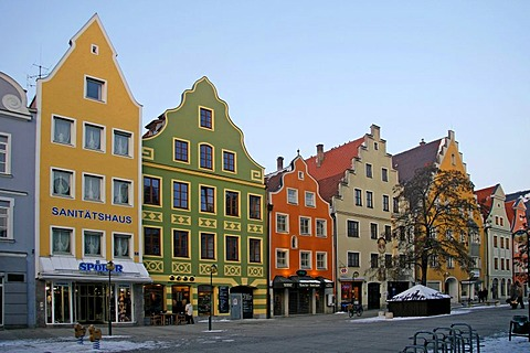 Theresienstrasse, houses, winter, Ingolstadt, Bavaria, Germany, Europe