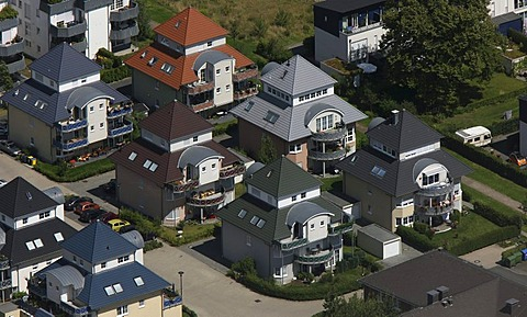 Aerial view of Stadtkrone Ost, Stockholmer Allee, housing estate, single-family houses, terraced house, Dortmund, North Rhine-Westphalia, Germany, Europe