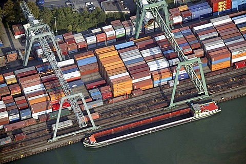 Aerial view, city port Dortmund container ship loading dock, Dortmund, Ruhr Area, North Rhine-Westphalia, Germany, Europe