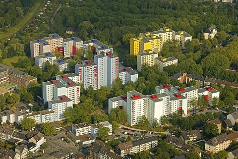 Aerial photograph, high-rise apartment buildings, Plattenbauten made of prefabricated concrete slabs, Dortmund-Hoerde, Clarenberg, LEG-Project, Dortmund, Ruhr district, North Rhine-Westphalia, Germany, Europe