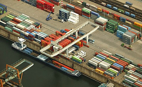 Aerial photograph of Rhein-Ruhr-Hafen container terminal, Duisburg, Ruhr Area, North Rhine-Westphalia, Germany, Europe