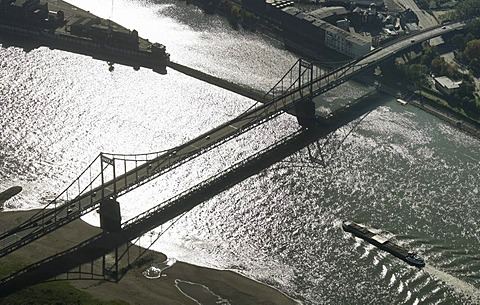 Aerial photograph of a bridge crossing the Rhine River near Duisburg-Muendelheim, North Rhine-Westphalia, Germany, Europe