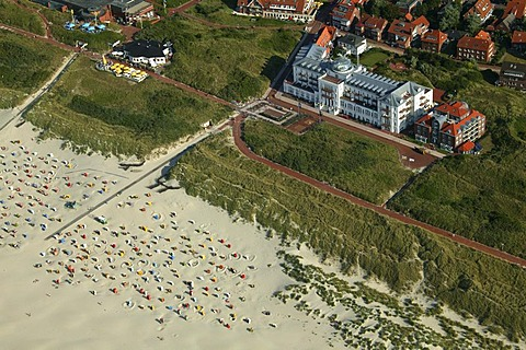 Aerial picture, health resort, Juist, East Frisian Islands, Lower Saxony, Germany, Europe