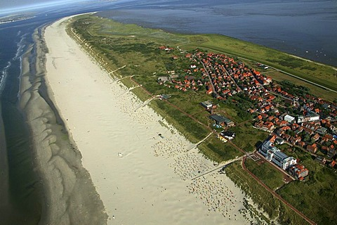 Aerial picture, health resort, Juist, East Frisian Islands, Lower Saxony, Europe