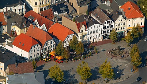 Aerial picture, half-timbered houses, city center, Kamen, North Rhine-Westphalia, Germany, Europe
