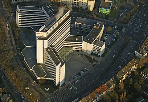 Aerial picture, EON Ruhrgas, headquarters, gas supply, energy supply company, multi-storey office building, Essen, Ruhr area, North Rhine-Westphalia, Germany, Europe