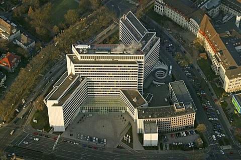Aerial picture, EON Ruhrgas headquarters, gas supply, energy supply company, multi-storey office building, Essen, Ruhr area, North Rhine-Westphalia, Germany, Europe