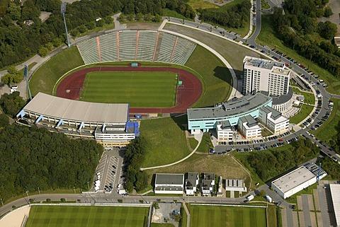Aerial photo, medicos.AufSchalke Reha, Arena Auf Schalke, Schalke arena, former Park Stadium, Gelsenkirchen, Ruhr area, North Rhine-Westphalia, Germany, Europe