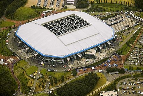 Aerial photo, Arena Auf Schalke, Schalke arena, Veltins Arena Gelsenkirchen Buer, Ruhr area, North Rhine-Westphalia, Germany, Europe