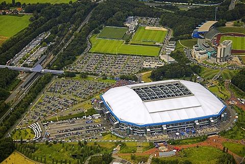 Aerial photo, parking area, Arena Auf Schalke, Schalke arena, Veltins Arena Gelsenkirchen Buer, Ruhr area, North Rhine-Westphalia, Germany, Europe