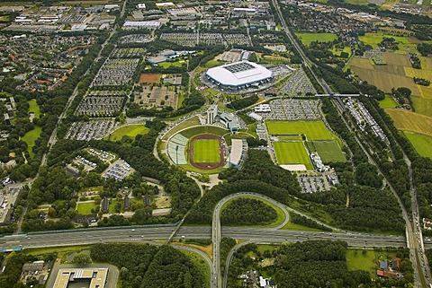 Aerial photo, parking area, Schalker pitch, Arena Auf Schalke, Schalke arena, Veltins Arena, medicos.AufSchalke Reha, Gelsenkirchen Buer, Ruhr area, North Rhine-Westphalia, Germany, Europe