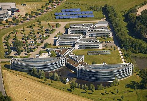 Aerial photograph, Innovationszentrum Wiesenstrasse, innovation center, Existenzgruenderzentrum, center for company formation, glass buildings, Gladbeck-Rentfort, Gladbeck, Ruhr Area, North Rhine-Westphalia, Germany, Europe