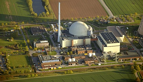 Aerial photograph, AKW, Atomkraftwerk, atom power plant, Weser, Grohnde, Emmerthal, Lower Saxony, Germany, Europe