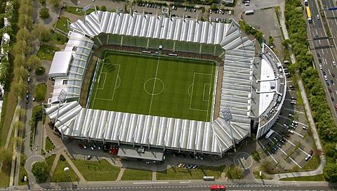 Aerial photograph, BayArena, national league, football, Leverkusen, North Rhine-Westphalia, Germany, Europe
