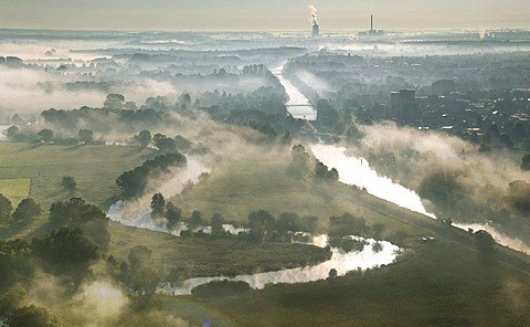 Aerial picture, Uentrop Lippe-Auen, late summer morning fog, Lippe, meander, Datteln-Hamm Canal, east, Hamm, Westfalen power plant, RWE-Power, Ruhr area, North Rhine-Westphalia, Germany, Europe
