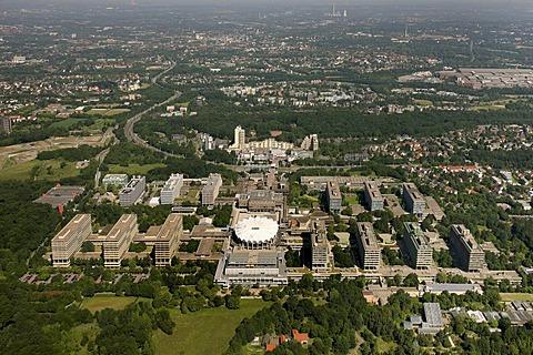 Aerial photo, Mensa, Audi-Max, tower blocks, pre-fabs, student accommodation at the RUB Ruhr University, Hustadt, Bochum, Ruhr area, North Rhine-Westphalia, Germany, Europe
