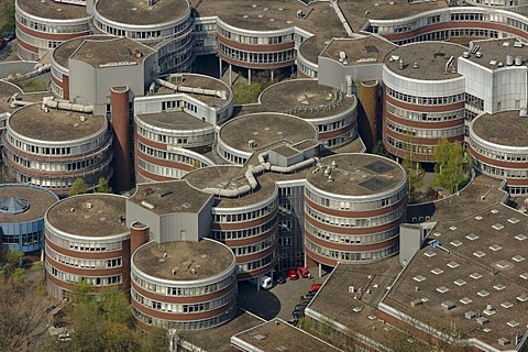 "Aerial photo, Essen University, the Gerhard Mercator University, ""biscuit tins"", Duisburg, Ruhr area, North Rhine-Westphalia, Germany, Europe"