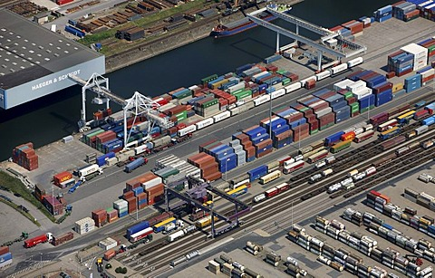 Aerial photo, containers, inland port, DuisPort, Ruhrort district, Duisburg, North Rhine-Westphalia, Germany, Europe
