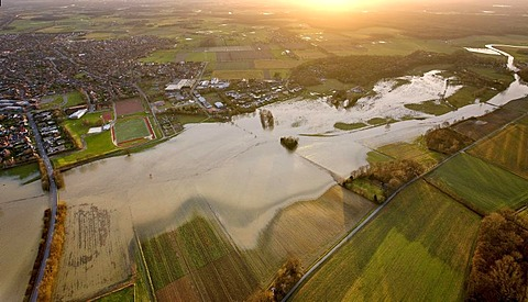 Aerial picture, flood, stever high water, Muensterland, Ruhr area, North Rhine-Westphalia, Germany, Europe