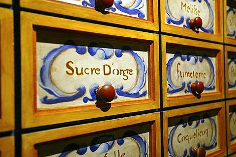 Sugar cupboard, drawers, Laventure du sucre, Sugar Museum, Beau plan, Mauritius, Indian Ocean, Africa
