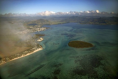 Aerial view, beach, turquoise water, coral island, mountains, Tamarin Bay, Mauritius, Indian Ocean