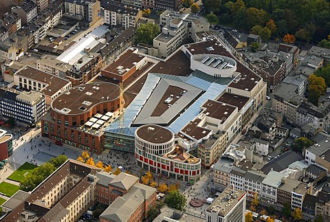 Aerial photograph, shopping centre, Karstadt, Duisburg Forum, Duisburg, Ruhr district, North Rhine-Westphalia, Germany, Europe