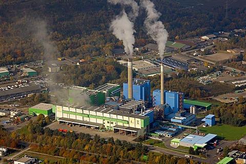 Aerial photograph, waste incinerator, RZR, AGR, Herten, Ruhr district, North Rhine-Westphalia, Germany, Europe