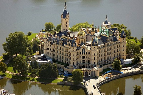 Areal view, Schwerin Castle, Schwerin, Mecklenburg-Western Pomerania, Germany, Europe - 832-244714