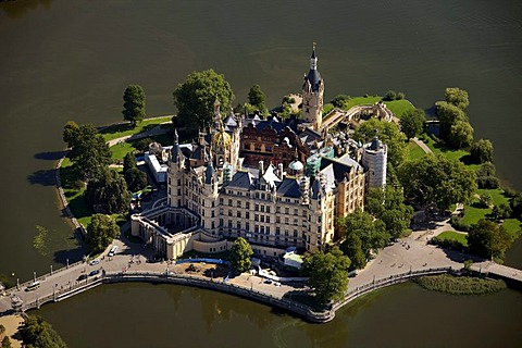 Areal view, Schwerin Castle, Schwerin, Mecklenburg-Western Pomerania, Germany, Europe - 832-244716