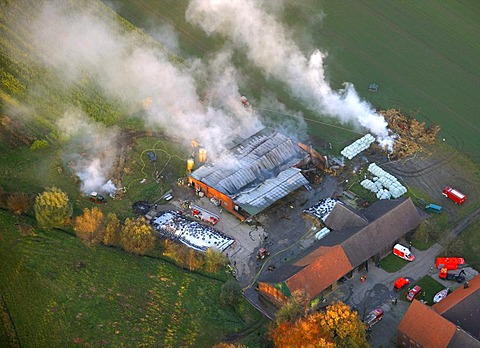 Aerial view, fire on a farm, Datteln, North Rhine-Westphalia, Germany, Europe