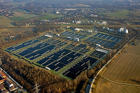 Aerial picture, Emschermuendung Dinslaken sewage work, Walsum, Duisburg, Ruhr area, North Rhine-Westphalia, Germany, Europe