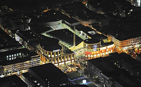 Aerial photograph at night, city centre, Forum Duisburg shopping mall, Duisburg, Ruhr Area, North Rhine-Westphalia, Germany, Europe