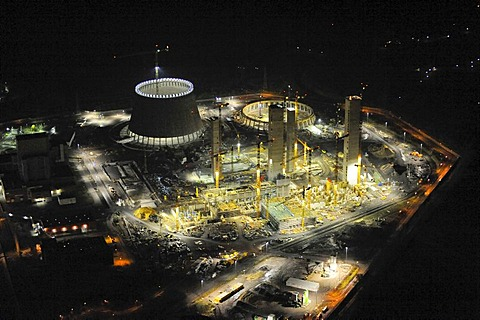 Aerial picture, night shot, RWE Power, coal power station expansion, Hamm, cooling tower, building site, Westfalen power plant, Ruhr area, North Rhine-Westphalia, Germany, Europe