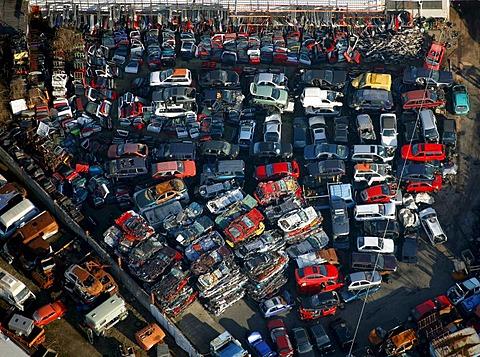Aerial photo, industrial area Carolinenglueck, Hordel junk yard, Bochum, Ruhr Area, North Rhine-Westphalia, Germany, Europe