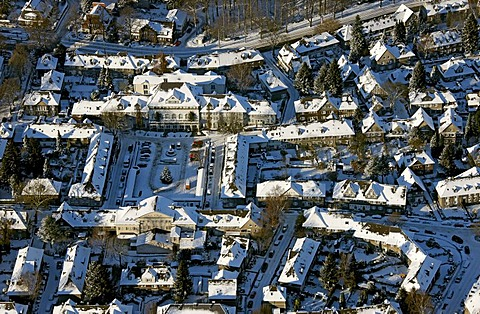 Aerial photo, Margarethenhoehe Kruppsiedlung, residential area for workers at the Krupp factories, market, monument conservation, snow, Essen, Ruhrgebiet, North Rhine-Westphalia, Germany, Europe