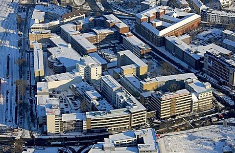 Aerial photo, Westdeutsche Allgemeine Zeitung, newspaper, headquarters WAZ, WAZ company, snow, Essen, Ruhrgebiet, North Rhine-Westphalia, Germany, Europe