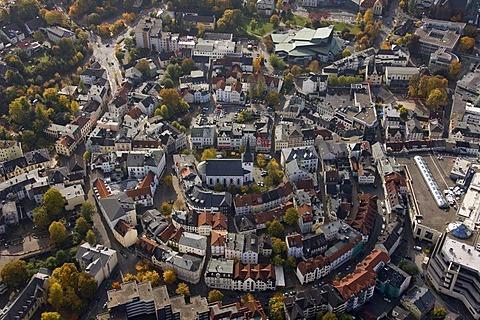 Aerial photo, old part of town, Protestant Erloeserkirche, Redeemer Church, Luedenscheid, Maerkischer Kreis, Sauerland, North Rhine-Westphalia, Germany, Europe