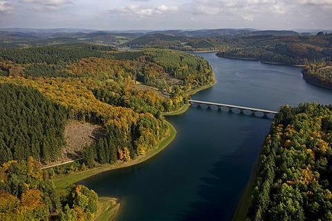 Aerial photo, Versetalsperre, Verse storage lake, Luedenscheid, Maerkischer Kreis, Sauerland, North Rhine-Westphalia, Germany, Europe