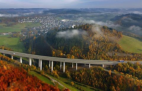 Aerial photo, freeway bridge, viaduct, autobahn A46 near Eversberg, Meschede, Sauerland, North Rhine-Westphalia, Germany, Europe
