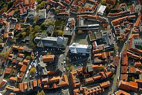 Aerial photo, St. Petri church, right, St. Patrokli-Dom Cathedral, left, inner city, Soest, Kreis Soest, Soester Boerde, South Westphalia, North Rhine-Westphalia, Germany, Europe