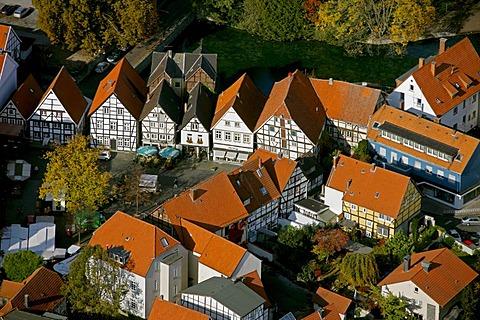 Aerial photo, market square with timbered houses, Soest, Kreis Soest, Soester Boerde, South Westphalia, North Rhine-Westphalia, Germany, Europe