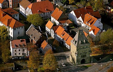 Aerial photo, Osthofentor gate at the old city wall, Soest, Kreis Soest, Soester Boerde, South Westphalia, North Rhine-Westphalia, Germany, Europe